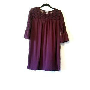 Pleione A line lace bell sleeve Dress maroon